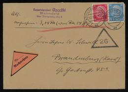 TREASURE HUNT [01396] Germany 1937 C-o-d Cover From Königsberg To Brandenburg With Hindenburg 12 Pf Carmine+20 Pf Blue - Storia Postale