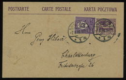 TREASURE HUNT [01398] Silesia 1920 15 Pf Violet Post Card Sent To Charlottenburg Up-rated With 15 Pf Stamp - Silesia (Lower And Upper)