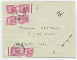 FRANCE TAXE 5FR ROSE X6 ST MARTIN ARDECHE 1956 LETTRE NON AFFRANCHIE + RESUE POUR TAXE + VERSO TAXE 10FR+20FR LYON - Strafportbrieven