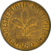 Monnaie, République Fédérale Allemande, 10 Pfennig, 1980, Munich, TB+, Brass - 10 Pfennig