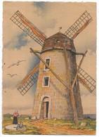 62-CALAIS (Environs)- Moulin à Vent, Carte Fantaisie NOS VIEUX MOULINS A VENT... (verso Reste De Collage) - Calais