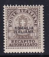 Colonie Somalia Recapito Autorizzato 1941 10c. Bruno Grigiastro Sass. 2 MNH** Cv 5 - Somalie