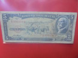 CUBA 5 PESOS 1958 Circuler - Cuba