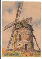 80-EAUCOURT-SUR-SOMME- Moulin à Vent, Carte Fantaisie NOS VIEUX MOULINS A VENT  (verso Reste Collage) - Altri Comuni