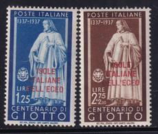 Colonie Egeo Giotto 1938 Serie Completa Sass. 109/110 MNH** Cv 10 - Egée