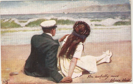 """""""Too Busy To Write. An Awfully Nice Place This"""". Tuck Oilette Postcard # 9414 - Tuck, Raphael"""