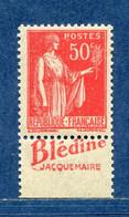 ⭐ France - Variété - YT N° 283 - Couleurs - Pétouilles - Pub Blédine - Neuf Sans Charnière - 1932 Et 1933 ⭐ - Varieteiten: 1931-40 Postfris