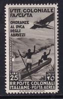 Colonie Emissioni Generali Posta Aerea Duca Degli Abruzzi 1933 25 L. Bruno Nero Sass. 30 MNH** Cv 100 - Emissions Générales
