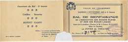 646 -  CHAMBERY- CARTE D' INVITATION Au  GRAND  BAL  DES ECOLES LAÏQUES -  LE 8 Novembre 1930 - RARE - Other