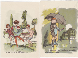 LOT DE 2 CARTES :  ENFANTS DE PARIS  BARRE DAYEZ N° 1116B    1116C  Signé Poulbot - Poulbot, F.