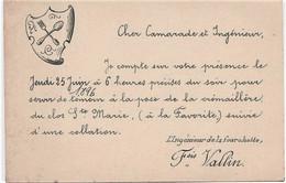 """654   - FAIRE PART De  F.VALLIN   """" L'Ingenieur De La Fourchette """" Je Compte Sur Votre Présence Le Jeudi 25 Juin 1896 - Other"""