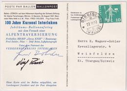 Ballonpost 100 Jahre Kursaaal Interlaken - Gestempelt Birgisch Wallis - Altri Documenti