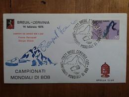REPUBBLICA - Marcofilia - Mondiali Di Bob - Cervinia 1975 - Firma Pilota + Spese Postali - F.D.C.