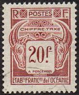 Océanie Obl. N° Taxe 27 - Têtes De Bélier - Le 20f Brun-lilas - Luftpost