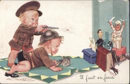 CPA CP Guerre 39 45 Il Faut En Finir Enfants Soldats Tirant Sur Hitler Goebbels Goering Anti Nazis Illustrateur Mauzan - Guerre 1939-45