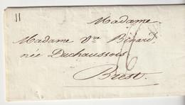"""Lettre Déboursé """"Déb. 28 Brest"""" Avec Marque """" P""""  Noir Et Taxe 16, 1817 - 1801-1848: Vorläufer XIX"""
