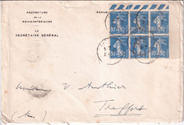 SEMEUSE CAMEE 10c BLOC De 6 ! - 1935 - ENVELOPPE De ROUEN - 1906-38 Sower - Cameo
