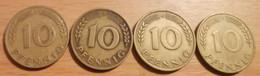 Allemagne Fédérale - 10 Pfennig Bank Deutscher Länder - Lot De 4 Pièces - 1949 D, F, G, J. - 10 Pfennig