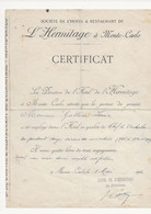 CERTIFICAT  L HERMITAGE  A MONTE  -CARLO - Unclassified
