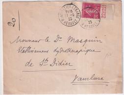 "1925 - SEMEUSE CAMEE 30c BANDE PUB ""SOURCE CACHAT"" Sur ENVELOPPE De MONTPELLIER (HERAULT) - Advertising"