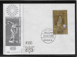 Yémen - JO Munich 1972 - Timbre En Or Sur Enveloppe Er Jour - TB - Rare - Yémen