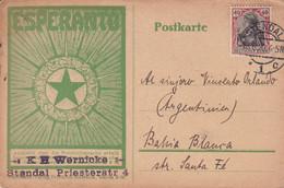 ESPERANTO. CARTE POSTALE CIRCULEE ANNEE 1920, STENDAL A BAHIA BLANCA, ARGENTINE.- LILHU - Esperanto