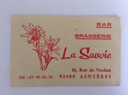 Bar Brasserie LA SAVOIE - 16 Rue De Verdun à Asnières (9266) - Visiting Cards