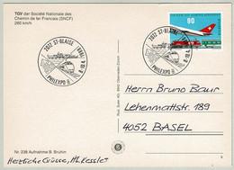 Schweiz / Helvetia 1988, Postkarte Philexpo St-Blaise - Basel, Schiff / Bateau, Eisenbahn / Chemin De Fer, TGV, Flugzeug - Non Classificati
