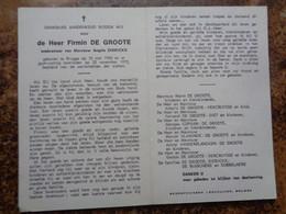 Doodsprentje/Bidprentje  Firmin DE GROOTE  Brugge 1900-1972 - Religione & Esoterismo