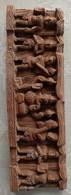 Très Joli Panneau Sculpté Sur Bois - Scène Religieuse Indienne - Legni