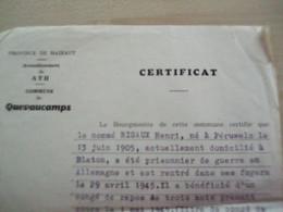 Ancien Certificat Prisonnier De Guerre1954 QUEVAUCAMPS - Sin Clasificación