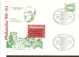 Allemagne DDR 1991 - Enveloppe Privée Neuve - Entier 2949 - Cachet Philatelia 90-91 -  Adenauer - Umschläge - Ungebraucht