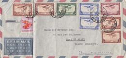 LETTRE. CONGO. 1 7 60. LEOPOLDVILLE. PAR AVION. POUR MONT ST AMAND BELGIQUE. 9 TIMBRES/  2 - 1947-60: Covers