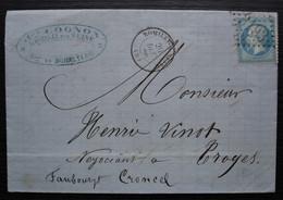 Romilly Sur Seine Aube 1866  Lettre De Jules Cognon Fabrique De Bonneterie Pour  Troyes - 1849-1876: Periodo Clásico
