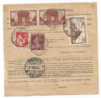 FRANCE N°258 PAIRE + 260 PERFORE +283+189 AU VERSO BULLETIN EXPEDITION SCHILTIGHEIM 1933 POUR SUISSE - 1921-1960: Modern Tijdperk