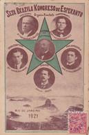 SESA BRAZILA KONGRESO DE ESPERANTO, RIO DE JANEIRO 1921. CARTE POSTALE CIRCULEE BRESIL A ARGENTINE.- LILHU - Esperanto