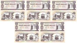 Guyana - 5 Pcs X 20 Dollars 2020 UNC P. 30 Signatures: Dr. Bobind Ganga And Winston Jordan Lemberg-Zp - Guyana