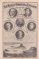 SESA BRAZILA KONGRESO DE ESPERANTO, RIO DE JANEIRO 1921. CARTE POSTALE CIRCULEE, CHILI A ARGENTINE.- LILHU - Esperanto