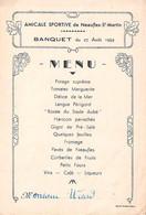 VIEUX PAPIERS MENUS AMICALE SPORTIVE NEAUFLES SAINT MARTIN 27 AOUT 1949 11 X 16 CM - Menú