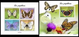 CENTRAL AFRICA 2021 - Butterflies, M/S + S/S Official Issue [CA210415] - Butterflies