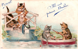 CPA - FANTAISIE - 1er AVRIL - Illustration CHATS à La Pêche ... - 1° Aprile (pesce Di Aprile)