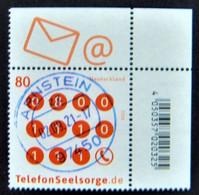 """Bund/BRD September 2021,Sondermarke """"Telefonseelsorge"""", MiNr 3627, Ecke 2,  Ersttagsgestempelt - Gebruikt"""