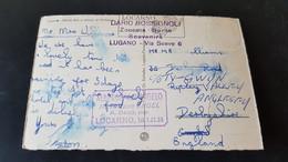 Lugano - Sent To Ripley England - Stempel Albergo Dell'Angelo - Hotel Zum Engel Locarno - Unclassified