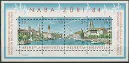 Schweiz 1984 NABA ZÜRI Stadtansicht Zürich Block 24 Postfrisch (C96283) - Blocks & Kleinbögen