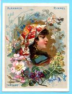 Une Chromo RIMMEL Almanach Calendrier 1884, Fleurs D'Orient Et Bustes De Filles. Tartare. Renseignement Utiles. - Small : ...-1900