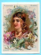 Une Chromo RIMMEL Almanach Calendrier 1884, Fleurs D'Orient. Buste De Fille Hindou. Mois Mars Et Avril. - Small : ...-1900