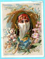 Une Chromo RIMMEL Almanach Calendrier 1884, Fleurs D'Orient. Buste De Fille Egyptienne. Mois Mai Et Juin. - Small : ...-1900
