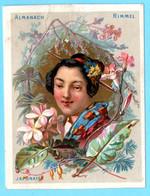Une Chromo RIMMEL Almanach Calendrier 1884, Fleurs D'Orient. Buste De Fille Japonaise. Mois Juillet Et Août. - Small : ...-1900