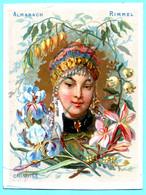 Une Chromo RIMMEL Almanach Calendrier 1884, Fleurs D'Orient. Buste De Fille Chinoise. Mois Septembre Et Octobre. - Small : ...-1900