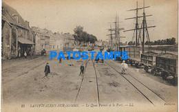169370 FRANCE SAINT VALERY SUR SOMME THE QUAI & PORT TRAIN RAILROAD POSTAL POSTCARD - Non Classificati